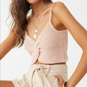 Ribbed twist-front taupe cami top